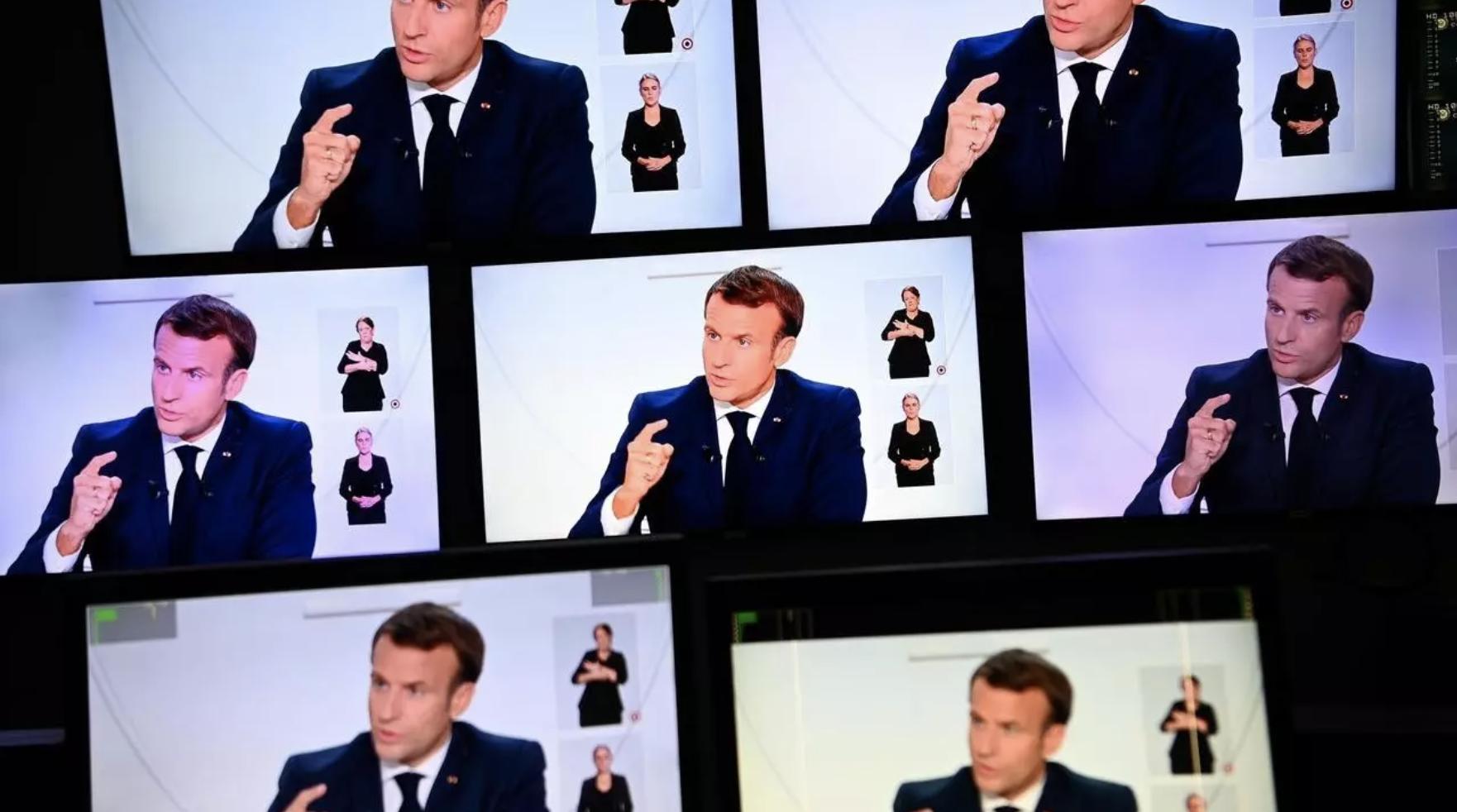 écrans dans écrans avec Macron pendant l'interview