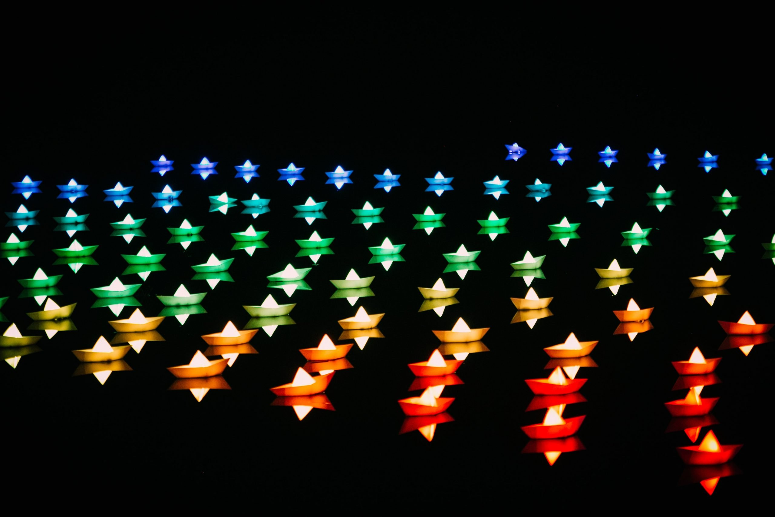 bougies multicolores