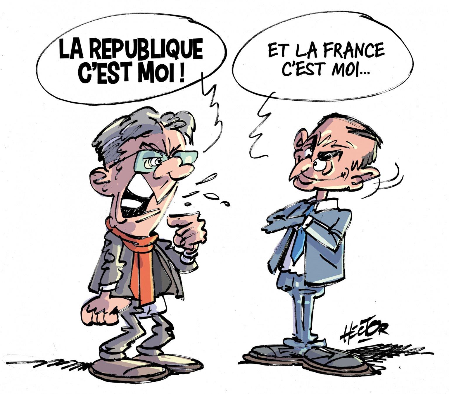 Caricature Mélenchon (La république c'est moi) et Zemmour (La France c'est moi)